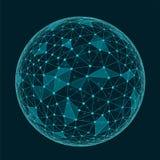 Forme polygonale géométrique abstraite avec les visages triangulaires, conne Photo stock