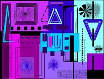 Forme rettangolari blu e porpora variopinte astratte del fondo, sul nero Fotografie Stock Libere da Diritti