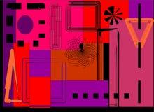 Forme rettangolari rosse e porpora variopinte astratte del fondo, sul nero Immagine Stock Libera da Diritti