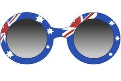Forme ronde de lunettes de soleil, cadre dans des couleurs britanniques de drapeau, d'isolement sur le fond blanc illustration de vecteur