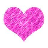 Forme rose de coeur d'isolement sur le blanc Photographie stock