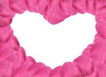 Forme rose de coeur de pétales de Rose Images stock