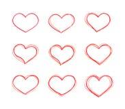 Forme rosse del cuore di vettore disegnato a mano fissate Immagine Stock Libera da Diritti