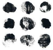 Forme rotonde dell'inchiostro nero isolate su bianco Immagine Stock
