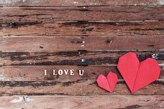 Forme rouge de coeur avec le mot Photographie stock libre de droits
