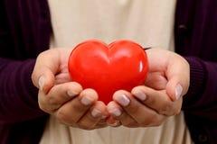 Forme rouge de coeur dans les mains images libres de droits