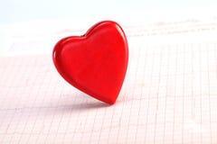 Forme rouge de coeur sur ECG Photographie stock libre de droits