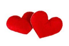 Forme rouge de coeurs d'isolement sur le fond blanc Concept de l'amour Images libres de droits