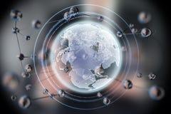 Forme rougeoyante abstraite de sphère La terre planète du concept 3d Fond de la science et technologie photos stock