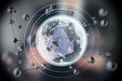 Forme rougeoyante abstraite de sphère La terre planète du concept 3d Fond de la science et technologie photographie stock libre de droits