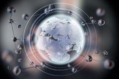Forme rougeoyante abstraite de sphère La terre planète du concept 3d Fond de la science et technologie images stock