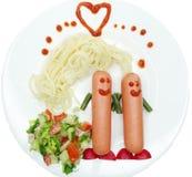 Forme végétale créative d'amour de dîner de nourriture Photographie stock libre de droits