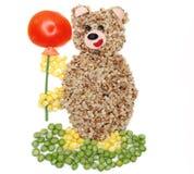 Forme végétale créative d'ours de dîner de nourriture image stock