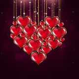 Forme Valentine Red Background de coeur Images stock