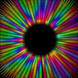 Forme velue de cercle d'arc-en-ciel avec le secteur noir au milieu, rayons psychédéliques graveleux dans l'aura d'énergie de la v Images stock