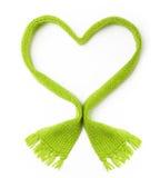 Forme verte de coeur d'écharpe de laine Image libre de droits