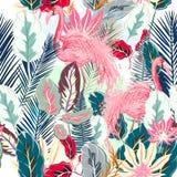 Forme a vetor tropical o teste padrão artístico com flamingo cor-de-rosa e ilustração do vetor