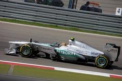 Formel en Mercedes Car för foto F1: Lewis Hamilton Arkivbild
