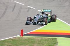 Formel en Mercedes Car för foto F1: Nico Rosberg Arkivfoton
