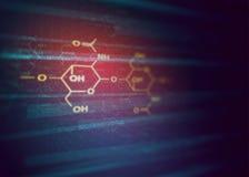 Formel för kemivetenskapschitin - medicinsk vikt- och molekylbakgrund - apotekmodell Royaltyfri Foto