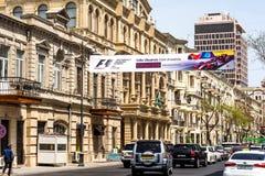 Formel 1, Grandprix von Europa, Baku Fahne 2016 auf Straße Lizenzfreie Stockbilder