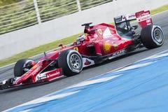 Formel 1, 2015: Kimi Raikkonen Ferrari Royaltyfria Bilder
