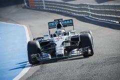 Formel 1, 2015: Lewis Hamilton Mercedes Royaltyfri Bild