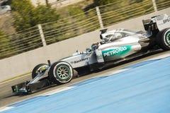 Formel 1, 2015: Lewis Hamilton Mercedes Arkivbilder