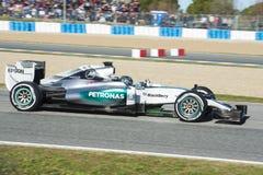 Formel 1, 2015: Presentation av den nya bilen Mercedes Royaltyfri Bild