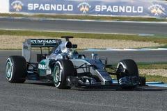 Formel 1, 2015: Presentation av den nya bilen Mercedes Fotografering för Bildbyråer