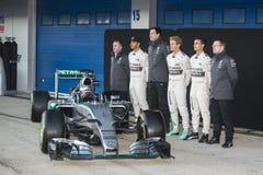 Formel 1, 2015: Presentation av den nya bilen Mercedes Arkivfoton