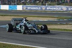 Formel 1, 2015: Presentation av den nya bilen Mercedes Royaltyfri Foto