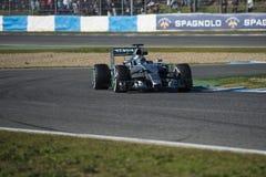 Formel 1, 2015: Presentation av den nya bilen Mercedes Arkivbilder