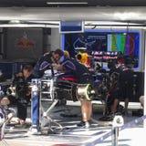 Formel 1 Red Bull, das Motor- Fotos F1 läuft Stockfotografie