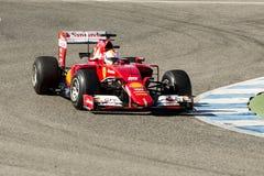 Formel 1 2015: Sebastian Vettel Royaltyfri Foto