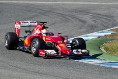 Formel 1 2015: Sebastian Vettel Arkivfoton
