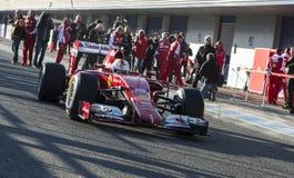 Formel 1, 2015: Sebastian Vettel Ferrari Fotografering för Bildbyråer