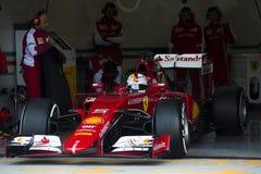 Formel 1, 2015: Sebastian Vettel Ferrari Arkivbild