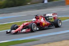 Formel 1, 2015: Sebastian Vettel Ferrari Royaltyfri Foto
