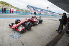 Formel 1, 2015: Sebastian Vettel Ferrari Arkivbilder