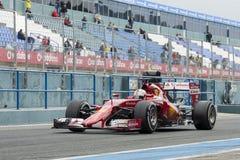 Formel 1, 2015: Sebastian Vettel Ferrari Arkivfoto