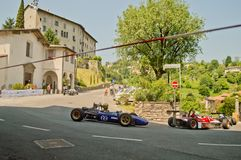 Formelbilar på Bergamo den historiska granda prixen 2017 Royaltyfri Bild