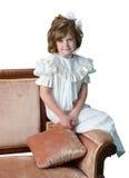 Formell antikverad stående av en ung flicka arkivbild