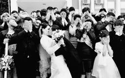 Formell bild för roligt bröllop Arkivfoto