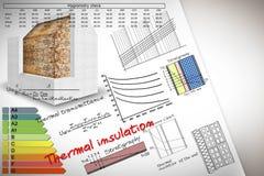 Formeln und Diagramme über Wärmedämmungs- und Gebäudeenergieeffizienz - Konzeptbild stockbilder
