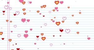 Formen bunte Herzen des abgehobenen Betrages des Valentinstags das Fließen auf Weißbuchschule mit Reihen Hintergrund, festliche V lizenzfreie abbildung