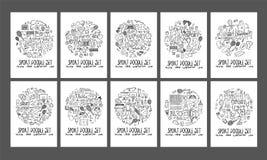 Formen för cirkeln för sportklotterillustrationen på papper a4 tapetserar tillbaka Arkivbilder