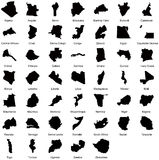Formen von 47 afrikanischen Ländern. Lizenzfreies Stockfoto