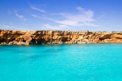 Formentera balearic island from sea west coast Stock Photography