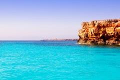 Formentera balearic island from sea west coast Stock Photography